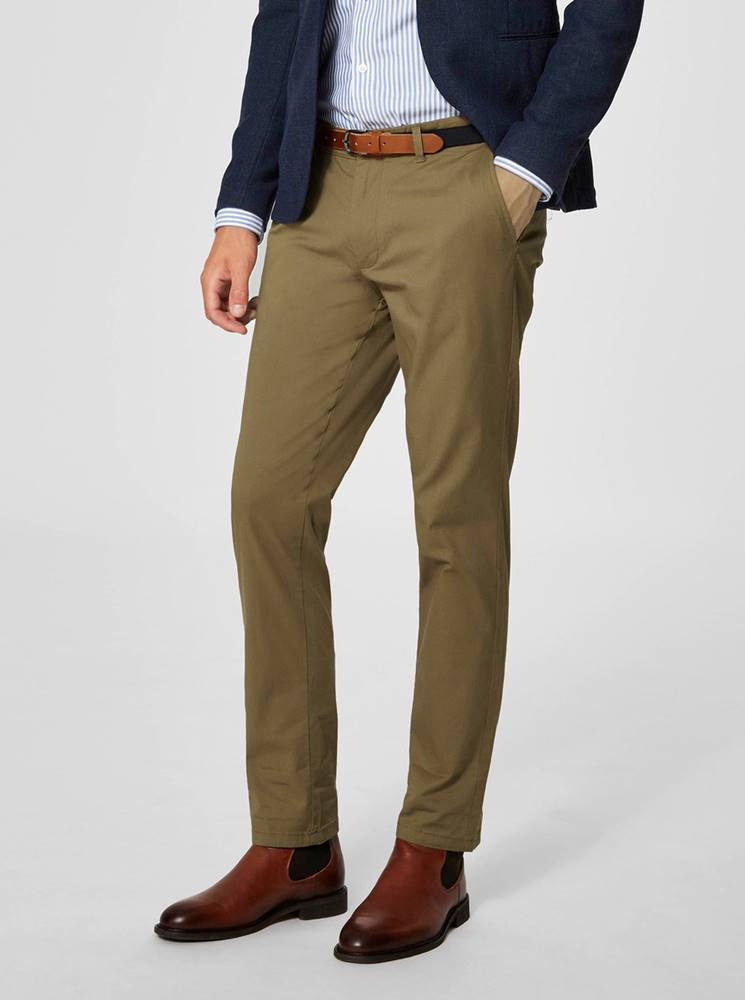 Selected Homme Béžové slim fit nohavice Selected Homme Yard
